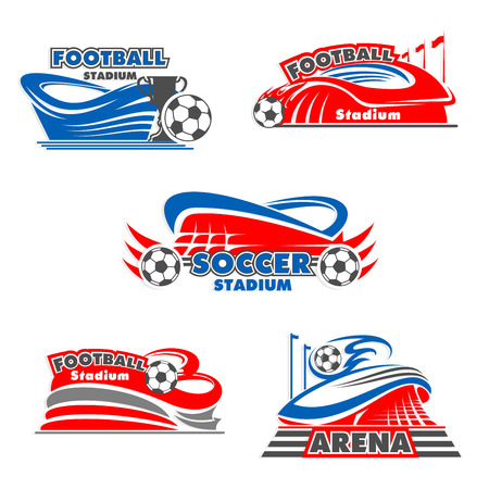 Football stadium and soccer sport arena icons
