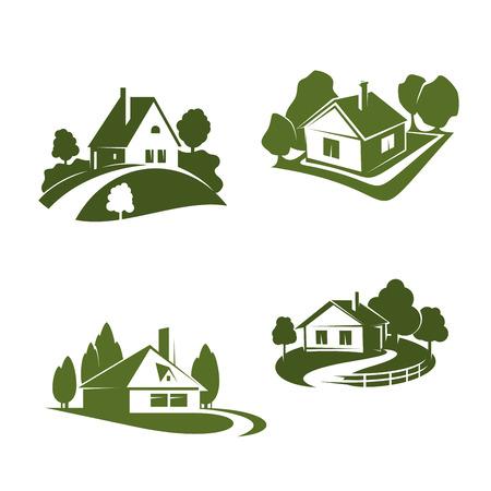 環境に優しい不動産会社のエンブレムのためのグリーンエコハウスアイコン。木と草の芝生、経路とフェンスが生態学やプロパティのテーマのデザ
