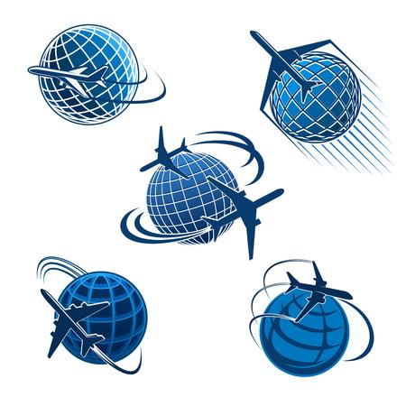 Flugzeug- und Reiseikone des Flugzeugreisesymbols. Um das Weltreisekonzept mit dem Flugzeug, das um das blaue Schattenbild des Erdplaneten für Lufttransportunternehmen- und Reisebüroemblem fliegt Standard-Bild - 92656183