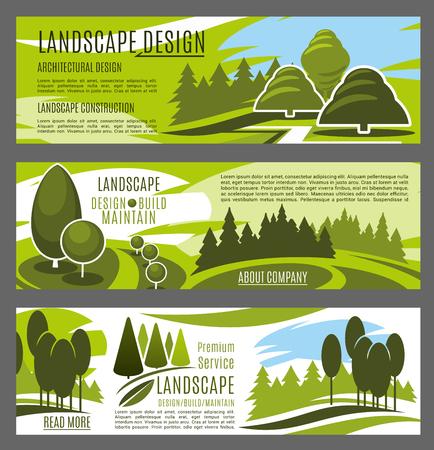 ランドスケープデザイン、建設、メンテナンス事業会社のバナーテンプレート。景観サービスデザインのための草の芝生と歩道とエコパークと市庭
