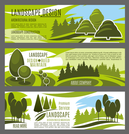 Landscape design, construction and maintenance business company banners template. Green tree nature landscape of eco park and city garden with grass lawn and footpath for landscaping service design