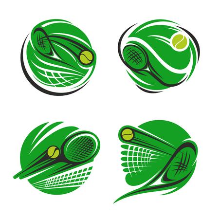 Simbolo dello sport del tennis della competizione sportiva. Pallina da tennis, racchetta e rete su campo verde tondo icona per torneo campionato e sport emblema club design Archivio Fotografico - 92657846