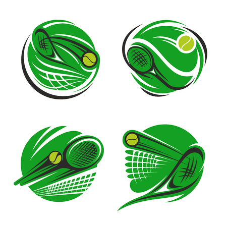 Tennis sport symbol of sporting competition. Tennis ball, racket and net on green court round icon for championship tournament and sport club emblem design
