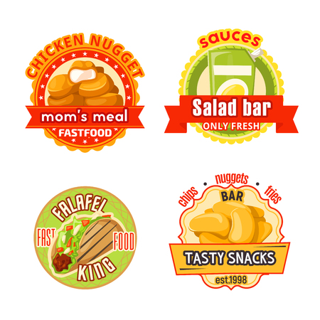 Fast food restaurant and cafe badge. Chicken nuggets, potato chips and french fries, fresh salad and falafel sandwich round label with ribbon banner for street food menu or delivery flyer