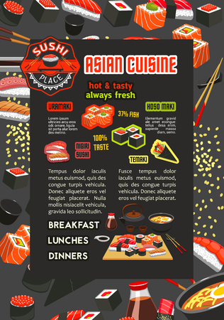A Japanese sushi bar menu poster of asian cuisine restaurant. Salmon fish roll and seafood nigiri sushi, shrimp and tuna sashimi, served on wooden platter with chopsticks, soy sauce and ramen soup Illustration