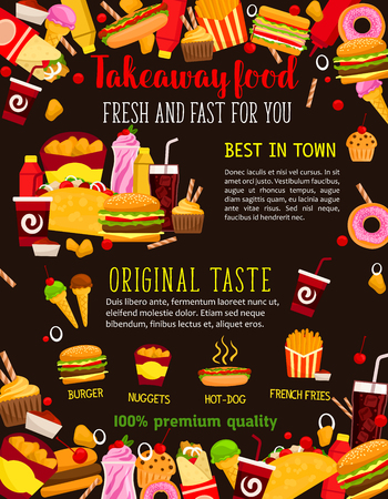Fast food restaurant meal poster with takeaway dishes frame. Burger, hamburger and hot dog sandwich, fries, donut and soda drink, chicken nuggets, ice cream, meat taco and burrito for fast food design Illustration