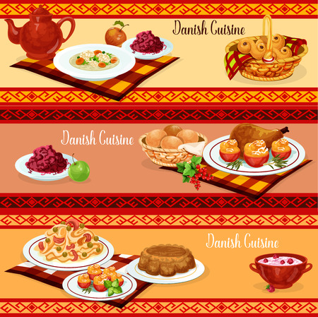 Danish cuisine dinner banner with traditional scandinavian food. Pasta with salmon fish and chicken with stuffed tomato, red cabbage salad and nut cake, rice pudding, raisins bun and meatball soup Vectores