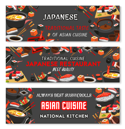Japanese restaurant menu banner with traditional sushi of asian cuisine. Seafood sushi roll and sashimi, sticky rice with salmon fish, tuna and shrimp, soup ramen, soy sauce and chopsticks