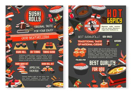 Japanese restaurant and sushi bar menu poster template vector illustration