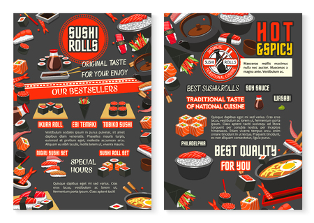 Japanese restaurant and sushi bar menu poster template vector illustration