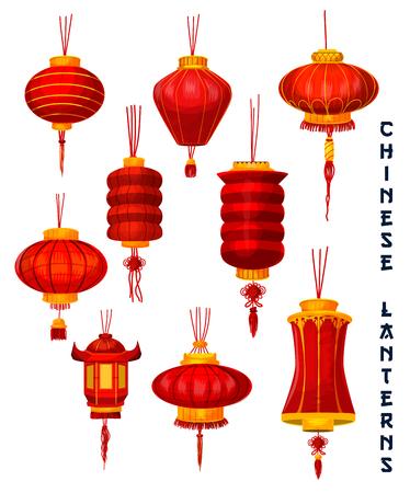 中国の旧正月孤立したランタンアイコンセット。アジアの太陰暦の祝日のデザインのための幸運な結び目の装飾と黄金の装飾と東洋の春祭りの赤い