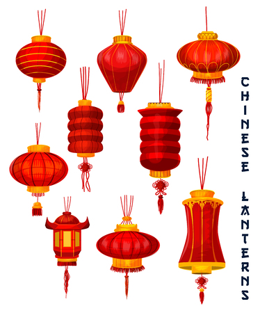 Chinese New Year isolated lantern icons set. Red paper lamp of Oriental Spring Festival with lucky knot ornaments and golden decoration for asian lunar calendar holidays design Zdjęcie Seryjne - 92662637