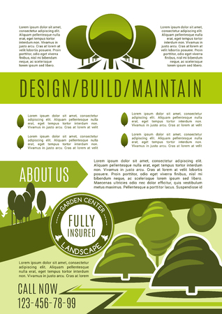 Landscape design studio business poster of landscaping and gardening service. Green tree alley and decorative grass lawn poster for landscape architecture, planning and maintenance design