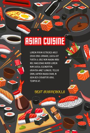 초밥 레스토랑 메뉴 템플릿의 일본 음식 포스터입니다. 해물 참치 롤과 새우 초밥, 밥에 참치 회, 아시아 요리 디자인을위한 젓가락과라면