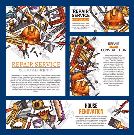 住宅修理と住宅リフォームバナーテンプレートは、建設作業ツールで設定