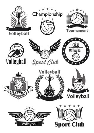 Volleybal vector iconen set sport club ballen, game toernooi winnaar beker award, overwinning lauwerkrans en kroon. Teamkampioenschap of wedstrijdemblemen, linten en sterren, scheidsrechterfluit en poorten.