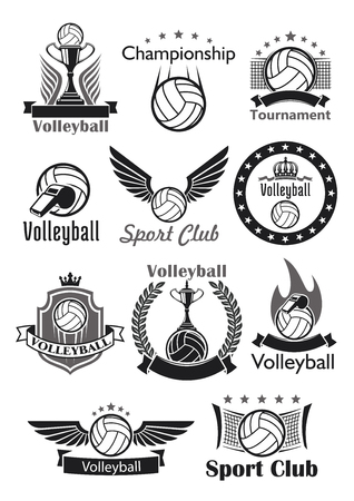 Volleyball vector icons set of sport club balls, game tournament winner cup award, victory laurel wreath and crown. Team championship or contest emblems, ribbons and stars, referee whistle and gates.