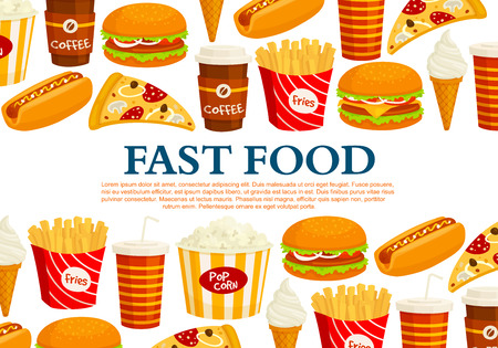 Fast food poster template of burger and sandwich, ice cream and donut dessert, popcorn and french fries or cheeseburger, pizza and hot dog snacks for fastfood restaurant or bistro cafe Illustration