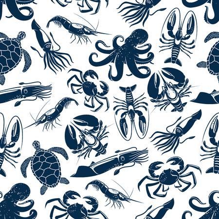 Padrão sem emenda de frutos do mar e animais do mar. Vector a tartaruga do oceano, o polvo ou a lagosta e o caranguejo, o choco do calamar ou o camarão e o camarão, ostra e mexilhões ou lagostas para o contexto do projeto do marisco. Ilustración de vector