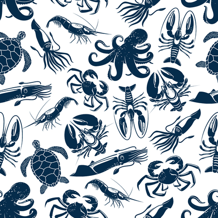 Seafood and sea animals seamless pattern. Vector ocean turtle, octopus or lobster and crab, squid cuttlefish or shrimp and prawn, oyster and mussels or crayfish for seafood design backdrop. Ilustração