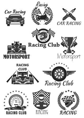Racing club and motorsport isolated symbol set. Racing car, motorcycle, champion trophy cup, race flag, wheel, racer helmet, piston, speedometer, spark plug with heraldic wreath, star and wing Illustration
