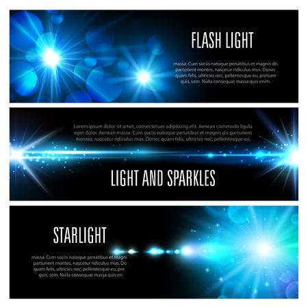 光フラッシュの青い輝き、太陽と星のまぶしさ、輝き、輝き、レンズフレアとボケと明るい光の輝きを持つ光効果バナーセット。クリスマスホリデ
