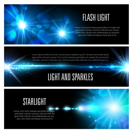 Light effect banner set with blue shine of light flash, glare of sun and star, glow of bright ray with glitter, sparkles, lens flare and bokeh. Christmas holiday invitation or space themes design