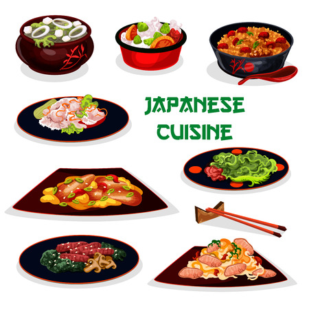 Japanese cuisine traditional dinner cartoon icon with sticky rice, pork noodle, eel fish with vegetable, sea kale soup with tofu, teriyaki beef with mushroom, fried rice with meat, marinated ginger Illustration