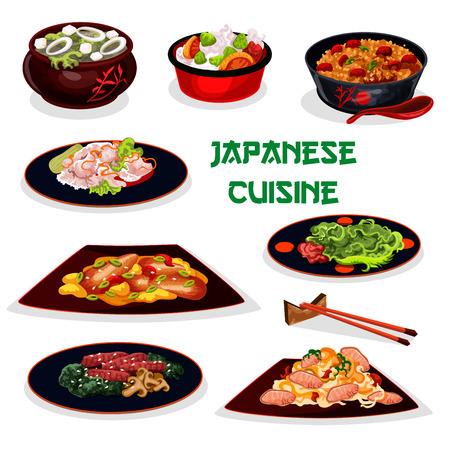 Traditioneel diner cartoonpictogram Japanse keuken met kleefrijst, varkensvleesnoedel, palingvis met groente, zeekoolensoep met tofu, teriyaki-rundvlees met champignon, gebakken rijst met vlees, gemarineerde gember