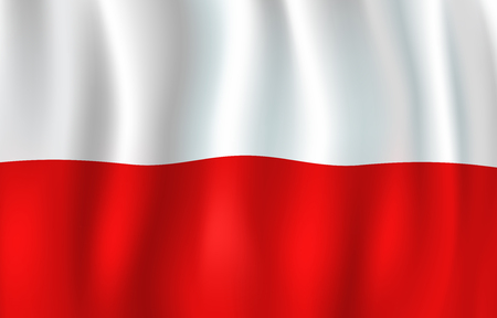 Poland flag 3D background of white and red color horizontal stripes. Polish republic European country official national flag waving with curved fabric or waves vector texture