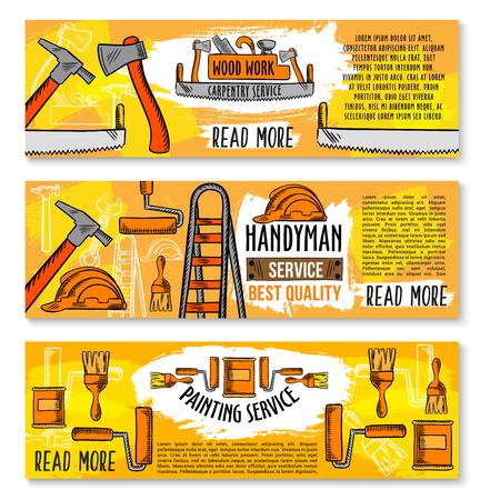 Huisvernieuwing, timmerwerkservice en houtbewerking werkgereedschap banners. Vector schets huis reparatie toolbox van schroevendraaier, grinder of zaag en interieur schilderij penseel of pleister troffel en boor