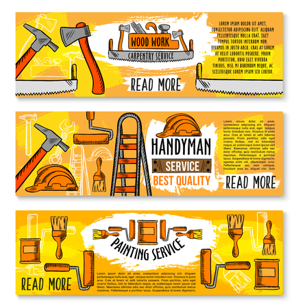 Home renovation, carpentry service and woodwork work tools banners. Vector sketch house repair toolbox of screwdriver, grinder or saw and interior painting paintbrush or plastering trowel and drill Illustration