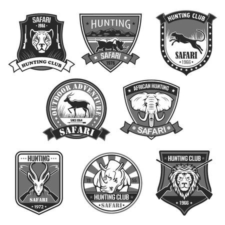 African safari animal hunting club and outdoor adventure badge set. African elephant, lion, rhino, antelope, panther, leopard with rifle and savanna landscape on heraldic shield with ribbon banner.