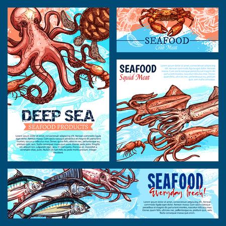 Mariscos y pescados productos alimenticios banners o carteles plantillas. Diseño del vector de pulpo fresco de captura de pesca, salmón o atún y camarones de gambas, cangrejo de la langosta o aguja y salmón o calamar y tortuga Foto de archivo - 92746630