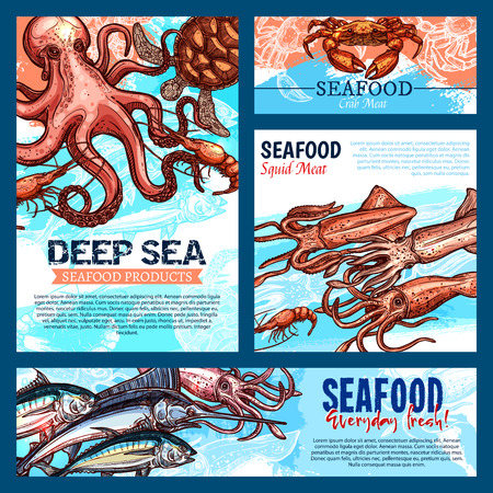 Seafood and fish food products banners or posters templates. Vector design of fresh fishing catch octopus, salmon or tuna and prawn shrimps, lobster crab or marlin and salmon or squid and turtle