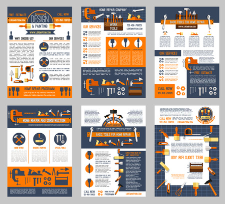 House repair and home construction posters set of handyman work tools. Vector renovation carpentry drill, saw or hammer, woodwork grinder and plastering trowel or interior design decor paint brush.