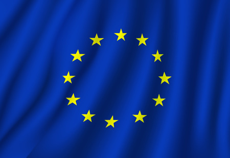 European Union flag vector on wavy fabric. Vector EU or Europe Council official flag and symbol of yellow gold stars and blue field background on flagpole.
