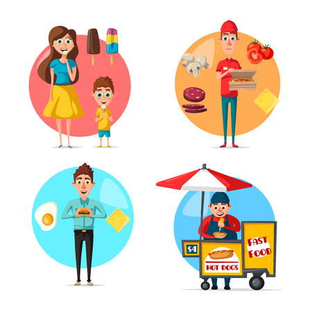 Food and people flat icons. Vector set of fast food burgers, pizza man and daily egg omelet meal or lunch, hot dog street food vendor and ice cream sweet candy desserts for mother and child.