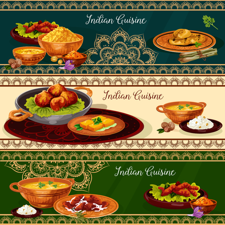 Indian cuisine spicy lunch dishes banner set. Rice curry with vegetable, chicken and fish, meat pilau, prawn seafood soup, bread with herbs, fried feta cheese, lentil corn soup and nut cookie Stok Fotoğraf - 92747584