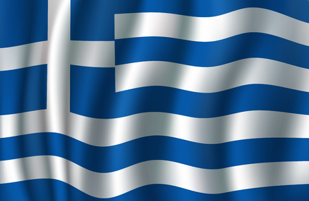 Flag of Greece 3d illustration with greek blue and white banner. European country national symbol vector concept for travel, geography of Europe and tourism themes design Çizim