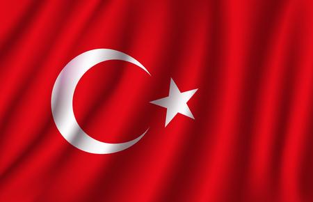 Bandiera 3D della Turchia della luna crescente bianca e stella sul fondo di colore rosso. La bandiera nazionale ufficiale del paese europeo della repubblica turca che ondeggia con il tessuto curvo o ondeggia la struttura di vettore
