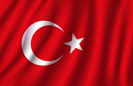 Turkey flag 3D of white crescent moon and star on red color background. Turkish republic European country official national flag waving with curved fabric or waves vector texture