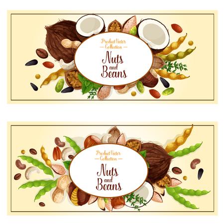 Noten en fruitzaden of bonenbanners. Vector set van walnoot, pinda of kokosnoot en hazelnoot, pistache of amandel noten peulvruchten bean pod, pompoen of zonnebloempitten en macadamia of hazelnootnoot