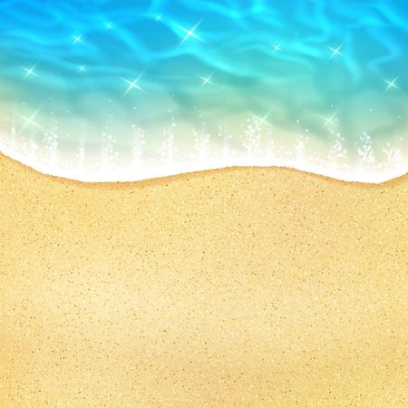Oceaanstrandgolf op zand of overzeese kust met het getijde van het waterschuim. Het vector 3D realistische ontwerp van zon lichte fonkelende bezinning over watergolf voor de zomerreis of vakantievakantie ontspant toevluchtaffiche