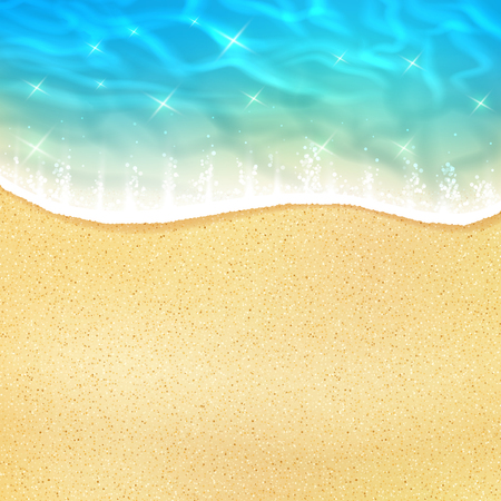 Ocean beach wave on sand or sea shore with water froth tide. Vector 3D realistic design of sun light sparkling reflection on water wave for summer travel or holiday vacation relax resort poster Illustration