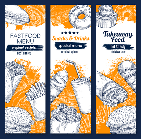 Fast food sketch banners for fast food restaurant or takeaway menu. Cheeseburger burger, hot dog sandwich or hamburger and potato fries, pizza and tacos or burrito, coffee drink and popcorn vector set. Illustration