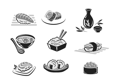 Sushi rolls and Japanese seafood dishes vector icons. Isolated symbols of sushi rolls with shrimp, fish tempura roll and caviar, sashimi and steamed rice and soy sauce for sea food restaurant.