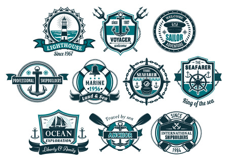 Sea anchor and boat helm nautical badge set. Anchor and steering wheel of marine ship, sailboat, lighthouse, diving helmet, bell and captain cap with lifebuoy, rope, chain for nautical heraldic design. Vectores