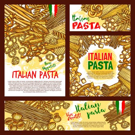 イタリアのパスタのポスターやレストランのデザインのためのバナー。ベクトルスパゲッティ、フェットチーネまたはファルフォールとデュラム手