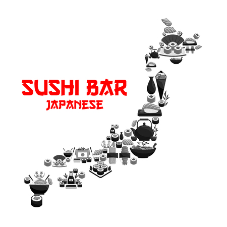 Japanese food in map of Japan with seafood sushi. Salmon roll, fish sashimi, seafood rice, noodle soup, temaki and nigiri sushi with shrimp and caviar, soy sauce, sake in shape of Japan islands.